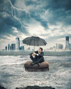Crisis storm in business Stock Photos