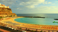 Beach on the sunset, Gran Canaria, canary  islands, time-lapse Stock Footage