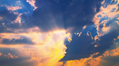 Dramatic sunset, sunbeams, clouds, sky, time-lapse. - stock footage