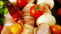 Fresh raw chicken kebabs on plate Stock Footage