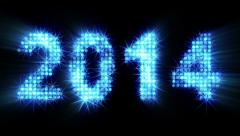 New year 2014 greeting glowing blue particles Stock Footage