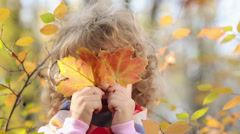 child in autumn - stock footage