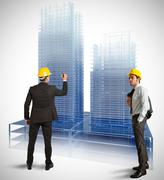 architect modern buildings - stock illustration