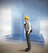 architect modern buildings - stock photo