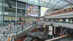Berlin's main train station (Hauptbahnhof) in time lapse - stock footage