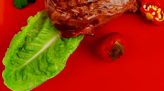 Meat food : roast beef garnished on red plate Stock Footage