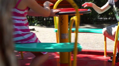 Children on carousel - stock footage