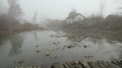 Finn Slough Homes and Fog Stock Footage