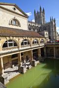Roman Baths and Bath Abbey in Somerset Stock Photos