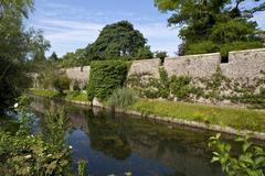 Bishop's Palace and Moat in Wells - stock photo