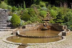 The Vesica Pool in Chalice Well Gardens - stock photo