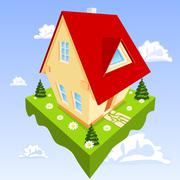 House in the clouds Stock Illustration