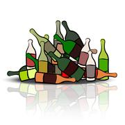 pile of empty bottles - stock illustration