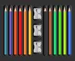 Stock Illustration of colored pencils set with sharpeners