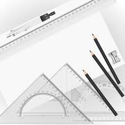 drawing tools with a drawing in the background - stock illustration