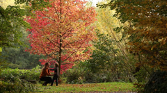 autumn park mum and son hugging - stock footage