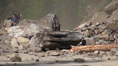 Rocks fall down, fresh landslide, road block, disaster, Georgia, Caucasus Stock Footage