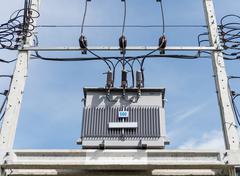 Transformer on high power station. high voltage Stock Photos