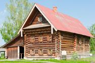 Stock Photo of two-storey wooden house of a wealthy farmer. suzdal. russia