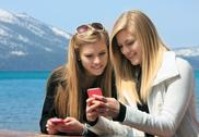 Stock Photo of girls on cell phone