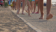 Stock Video Footage of Vacationers going to the summer beach