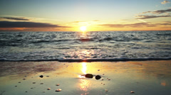 Sunset at ocean. Dolly shot Stock Footage
