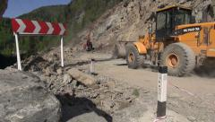 Landslide in Georgia, machinery cleaning up rocks and trees Stock Footage
