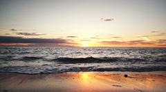 Golden ocean sunset. Tracking shot.  Stock Footage