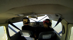 Cockpit view from inside light aircraft remote Alaskan Wilderness, Alaska, USA Stock Footage