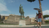 Stock Video Footage of International tourists & Caesar in Rome 6 (slomo dolly)