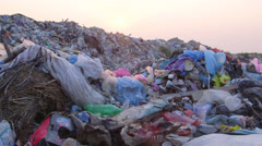 Stock Video Footage of DOLLY: Urban Refuse Dump At Sunset