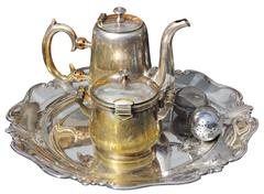 old silver teapot - stock photo