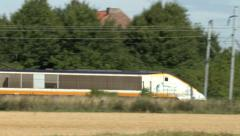 A high-speed Eurostar train in France. Stock Footage
