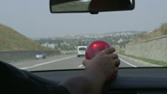 Stock Video Footage of Driving car with red flashing light on highway