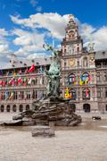 Central square and brabo statue in antwerpen Stock Photos