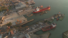 Aerial view of a shipyard Stock Footage