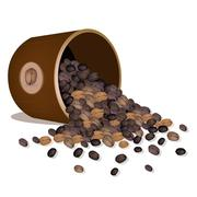 Various Kind of Coffee Beans Dropped from A Pail - stock illustration