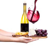 wine and food with waiter hand - stock photo