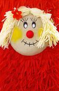closeup face of puppet - stock photo