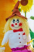 colorful scarecrow at garden of paper - stock photo
