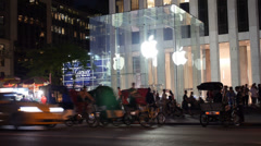 New York City Apple Store Establishing Shot Night Stock Footage
