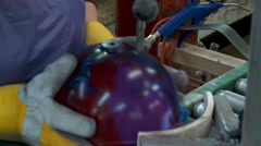 Bowling Ball Factory- Drilling Holes Stock Footage