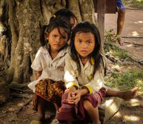 Cambodian Children - two young girls Stock Photos