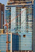 Stock Photo of closeup of skyscraper office tower under construction in bangkok thailand