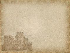 vintage castle paper with space for text - stock photo