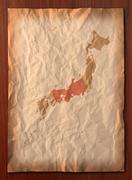 vintage japan map paper paper - stock photo