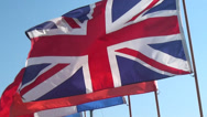 Stock Video Footage of British Flags, UK, United Kingdom, Great Britain, 3D