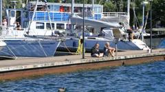 Askersund Bay docks Stock Footage