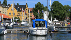 Askersund Bay boats docks Stock Footage