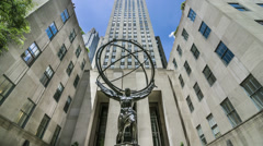 Atlas Statue at Rockefeller Center - stock footage